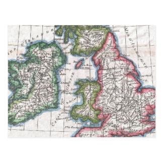Carte vintage des îles britanniques 1780 carte postale