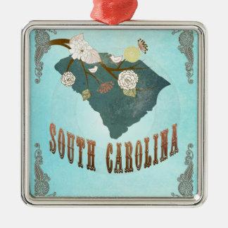 Carte vintage d'état de la Caroline du Sud - bleu Ornement Carré Argenté