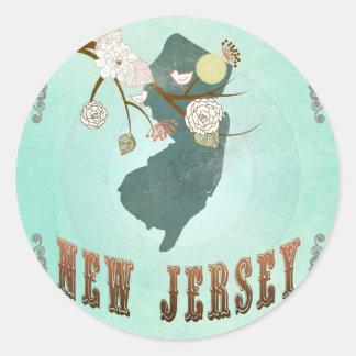 Carte vintage d'état de New Jersey - bleu de Autocollants Ronds