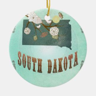 Carte vintage d'état du Dakota du Sud - bleu de Ornement Rond En Céramique