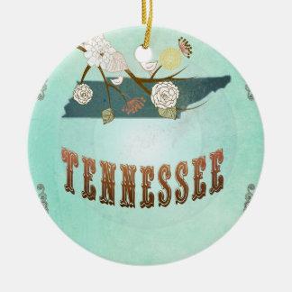 Carte vintage d'état du Tennessee - bleu de Ornement Rond En Céramique