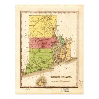 Carte vintage d'Île de Rhode (1829)