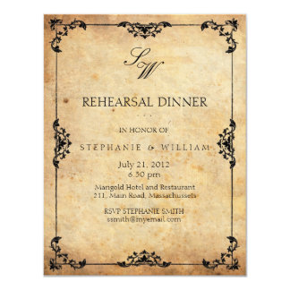 Carte vintage d'invitation de dîner de répétition carton d'invitation 10,79 cm x 13,97 cm