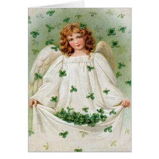 Carte vintage du jour de St Patrick d'ange de