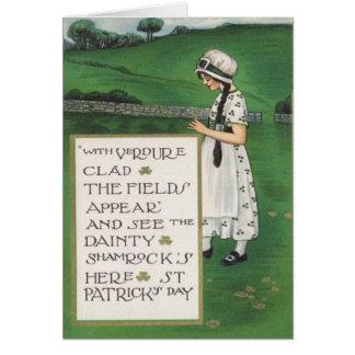 Carte vintage du jour de St Patrick de champ de