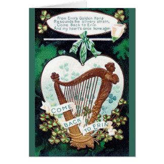 Carte vintage du jour de St Patrick irlandais