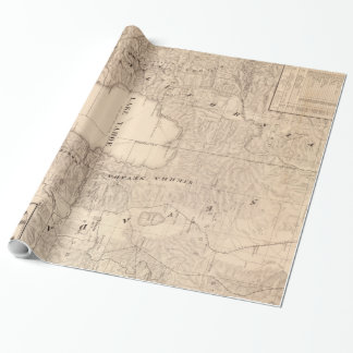 Carte vintage du lac Tahoe Calfornia (1874) Papier Cadeau