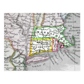 Carte vintage du Massachusetts, le Connecticut