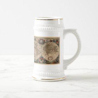 Carte vintage du monde 1641 mugs à café