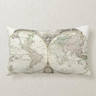 Carte vintage du monde (1775) coussin