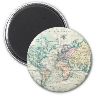 Carte vintage du monde (1801) magnet rond 8 cm