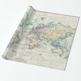Carte vintage du monde (1801) papiers cadeaux noël