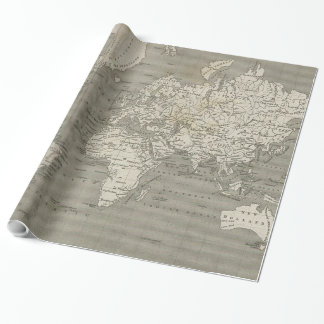 Carte vintage du monde (1820) 2 papiers cadeaux