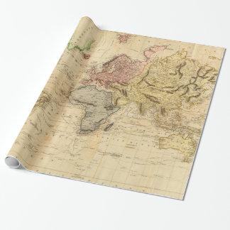 Carte vintage du monde (1831) papier cadeau