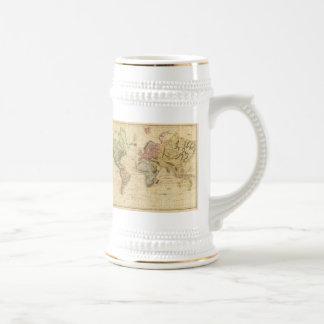 Carte vintage du monde 1831 tasses à café
