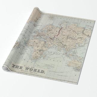 Carte vintage du monde (1875) papiers cadeaux noël