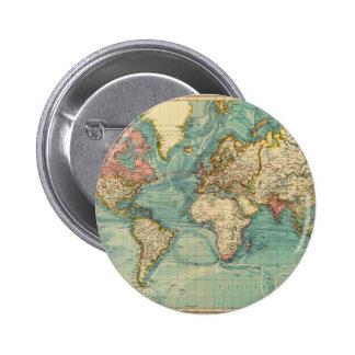 Carte vintage du monde badge