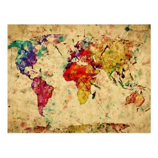 Carte vintage du monde carte postale