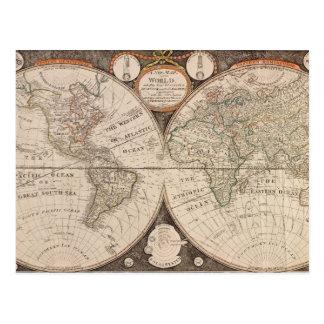 Carte vintage du monde cartes postales