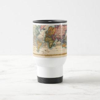 Carte vintage du monde mug de voyage en acier inoxydable
