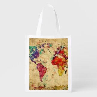 Carte vintage du monde sac réutilisable d'épcierie