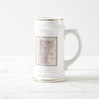 Carte vintage du Vermont (1855) Tasses À Café