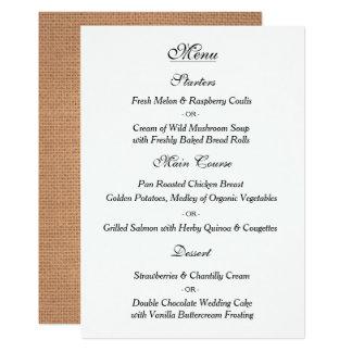 Carte vintage élégante de menu de mariage carton d'invitation  12,7 cm x 17,78 cm
