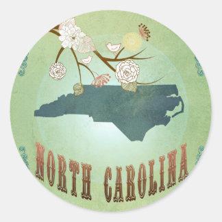 Carte vintage moderne d'état de la Caroline du Sticker Rond