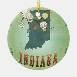 Carte vintage moderne d'état de l'Indiana - vert Ornement Rond En Céramique