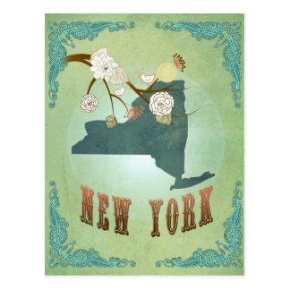 Carte vintage moderne d'état de New York - vert