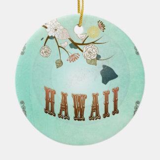 Carte vintage moderne d'état d'Hawaï - bleu de Ornement Rond En Céramique