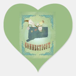 Carte vintage moderne d'état du Connecticut - vert Sticker Cœur