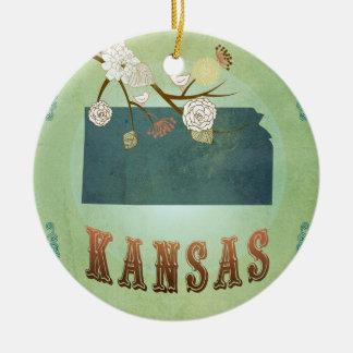 Carte vintage moderne d'état du Kansas - vert Ornement Rond En Céramique