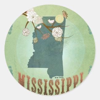 Carte vintage moderne d'état du Mississippi - vert Adhésifs Ronds