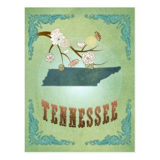 Carte vintage moderne d'état du Tennessee - vert