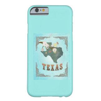 Carte vintage moderne d'état du Texas - bleu Coque iPhone 6 Barely There