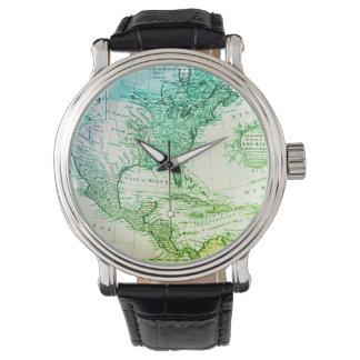 Carte vintage verte fraîche de l'Amérique du Nord Montres Bracelet