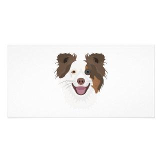 Carte Visage heureux border collie de chiens