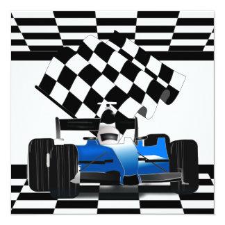 Carte Voiture de course bleue avec le drapeau Checkered