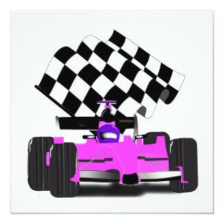 Carte Voiture de course rose Girly avec le drapeau