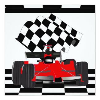 Carte Voiture de course rouge avec le drapeau Checkered