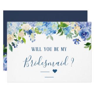 Carte Volonté florale d'hortensias bleus vous soyez ma