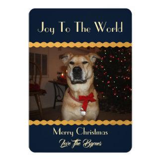 Carte Votre Noël de photo ajoutent l'or de bleu de