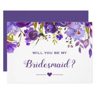 Carte Vous serez mon floraux pourpre violet de