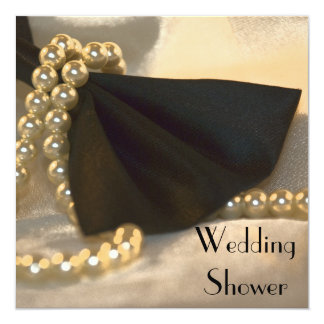 Carte Wedding shower blanc noir de couples de perles de