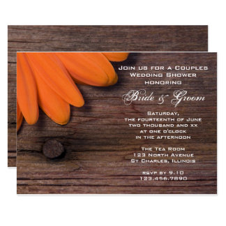 Carte Wedding shower de couples de marguerite orange et