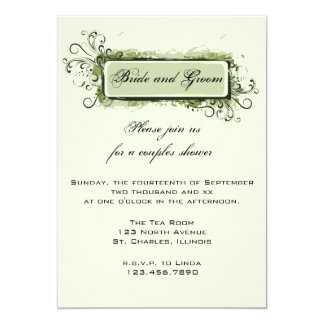 Carte Wedding shower floral abstrait vert de couples