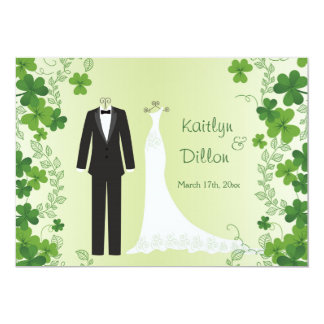 Carte Wedding shower irlandais de shamrock, de smoking