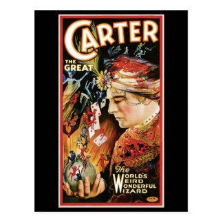 Carter la Loi magique vintage de grand magicien de Carte Postale