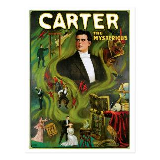 Carter l'acte magique vintage de ~ mystérieux carte postale